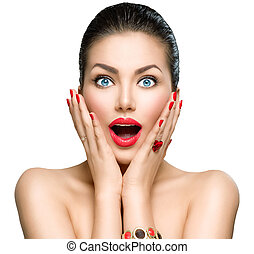 Beauty fashion surprised woman portrait