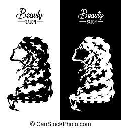 Beauty Female Face Logo Design.Cosmetic salon logo design. Creative Woman Face with creative hair. Hair Salon Logo. Vector illustration