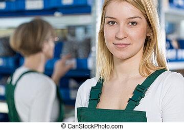 Beauty female manufacturing worker - Portrait of beauty ...
