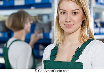 Beauty female manufacturing worker