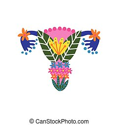 Beauty Female Reproductive System with Bright Flowers and Plants, Uterus and Womb Organs Made of Blooming Flowers Vector Illustration on White Background.