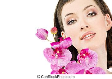 flower girl - beauty flower girl on the white background