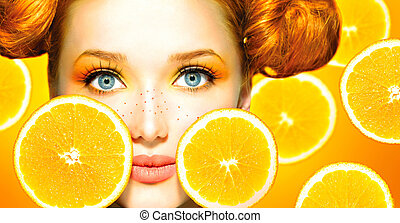 beauty, freckles, sappig, oranges., meisje, model