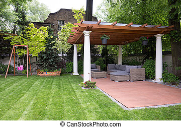Beauty garden with modern gazebo - Picture of beauty garden...