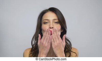 beautiful woman with red lipstick blowing air kiss - beauty,...