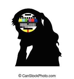 beauty girl and tv test vector