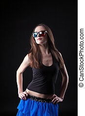 Beauty girl dance disco in anaglyph glasses