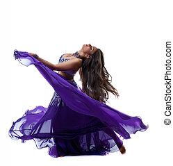 Beauty girl dance in traditional arabia costume
