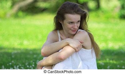Beauty Girl Enjoying Nature in white dress