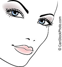 beauty girl face, beautiful woman vector portrait