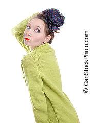 beauty girl in a woolen sweater