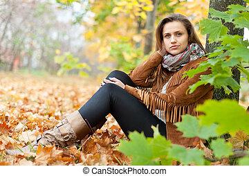 beauty girl in autumn