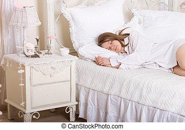 beauty girl in bed