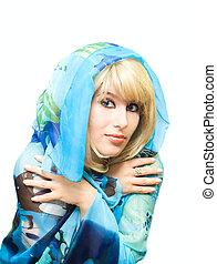 Beauty girl in blue
