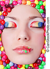 Beauty girl in candys