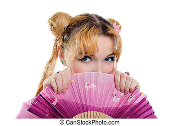 Beauty girl in kimono cosplay hide by fantail isolated
