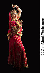 Beauty girl in red traditional indian costume