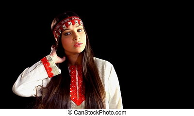 Beauty girl in russian costume