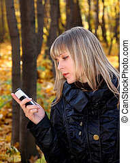 girl messaging with phone