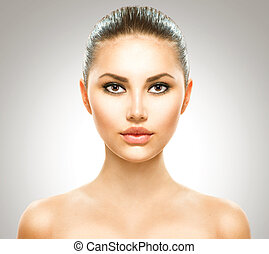 beauty, girl., mooi, jonge vrouw , met, fris, schoonmaken, huid