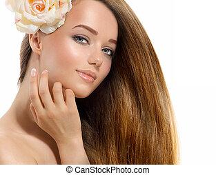 beauty, girl., mooi, model, met, roos, bloem, aandoenlijk, haar, gezicht