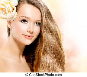 beauty, girl., mooi, model, met, roos, bloem
