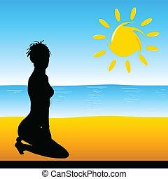 beauty girl on the beach vector illustration