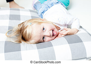 Beauty girl on the pillow