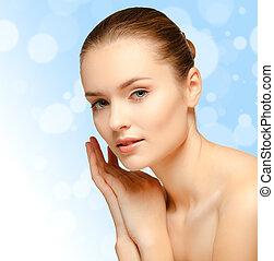 Beauty Girl Portrait. Beautiful Young Woman. Fresh Clean Skin