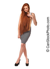 Beauty Girl Portrait. Healthy Long Red Hair.