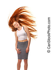 Beauty Girl Portrait. Healthy Long Red Hair. Beautiful Young Woman isolated on a white background