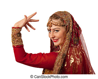 Beauty girl posing in traditional indian costume