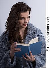 Beauty girl reading book