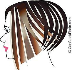 Beauty girl short hair logo