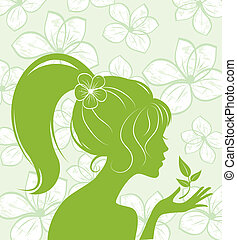 beauty girl silhouette on floral background