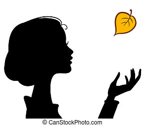 Beauty Girl Silhouette with Leaf