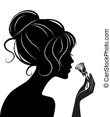 beauty girl silhouette with rose. Vector illustration