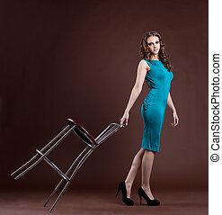 Beauty girl walk with bar chair