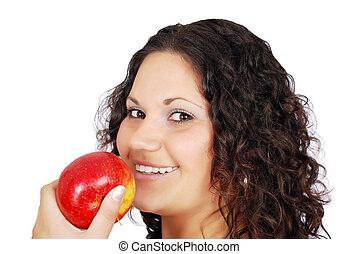 beauty girl with apple