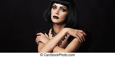 Beauty Girl with Black Lips and Long Lashes. Vogue Style Portrait