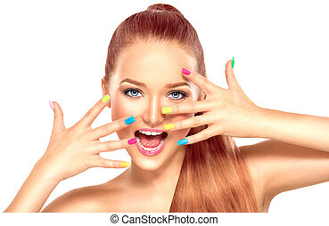 Beauty girl with colorful manicure and fashion makeup