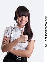 Beauty girl with headset thumbs up