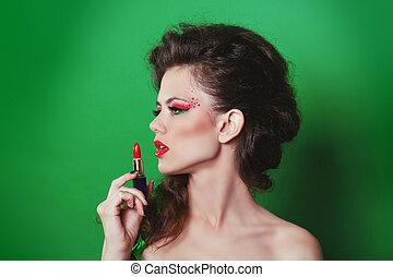 Beauty Girl with red lipstick. Fashion Art Woman Portrait
