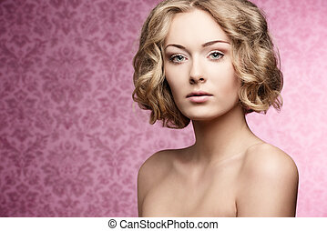 beauty girl with short hair-cut