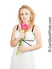 girl with tulips,