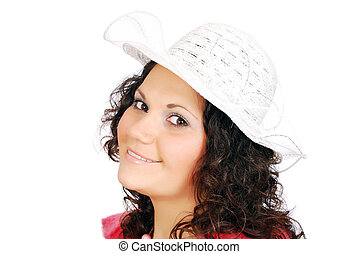 beauty girl with white hat