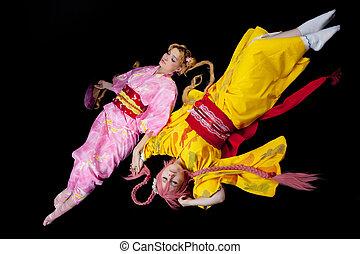 Beauty girls lay in kimono cosplay costume