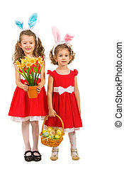 Beauty girls with bunny ears  and Easter eggs