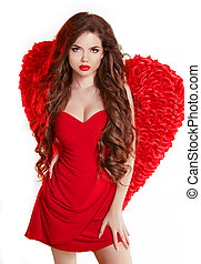 Beauty Glamorous angel girl with red wings and wavy long healthy