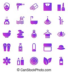 Beauty gradient icons on white background